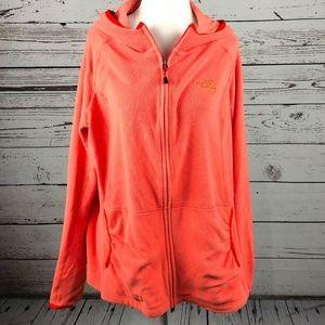 The North Face Orange Zip Up Hoodie Fleece Jacket
